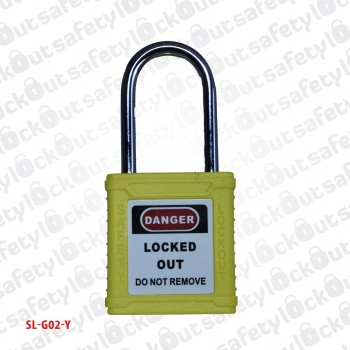 Safety Padlock - Steel Shackle 38mm Yellow